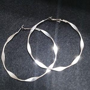 """Silver 3"""" Hoop Earrings"""